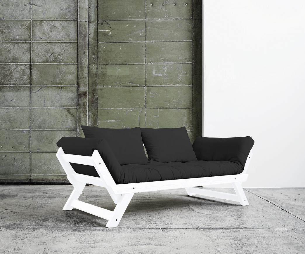 Divano letto Bebop di Karup grigio scuro con struttura bianca   Duzzle