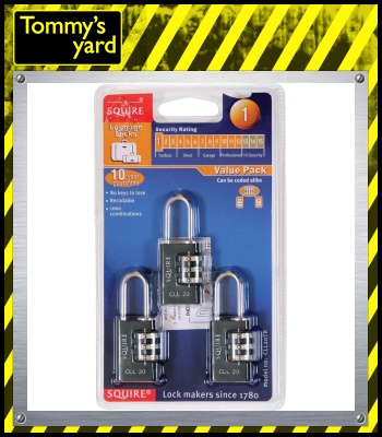 Squire Combination Padlock Triple Pack 20mm