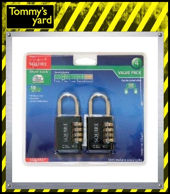 Squire Combiantion Padlock Twin Pack Black 40mm