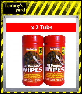 Bartoline All Purpose Wipes 80Xl x2 Tubs
