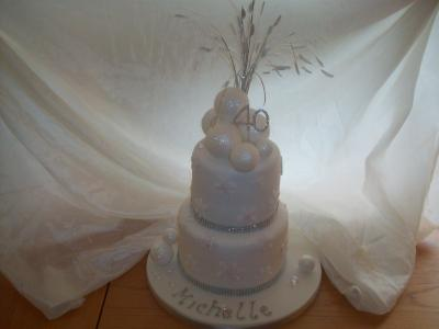 Snowball Snowflakes Diamante 40th Birthday Cake
