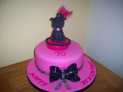 Pug Dog 70th Birthday Cake