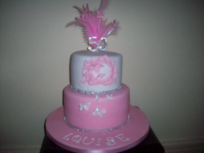 Pink Feather Diamante 50th Cake