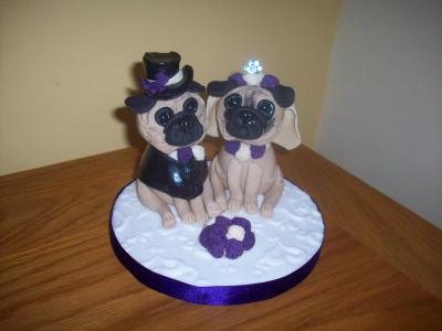 Pug Dogs Bride and Groom Wedding Cake Topper