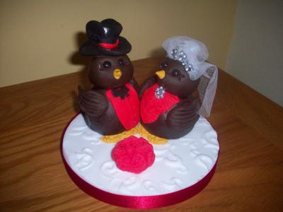 Red Robins Bride and Groom Wedding Cake Topper