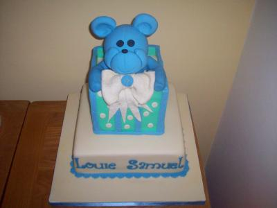 Teddy in a Box Baby Christening Cake