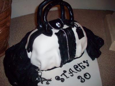 Designer Black and White Handbag Cake