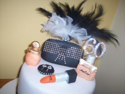 Diamantes Handbag and Cosmetics Cake