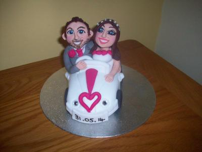 Bride and Groom Car Wedding Cake Topper