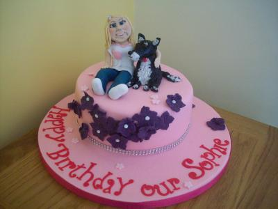 Girl and Dog Birthday Cake