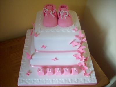 Baby Shoes and Butterflies Cake