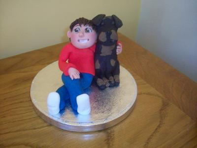 Boy and his Dog Birthday Cake Topper