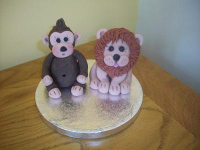 Monkey and Lion Animals Cake Topper