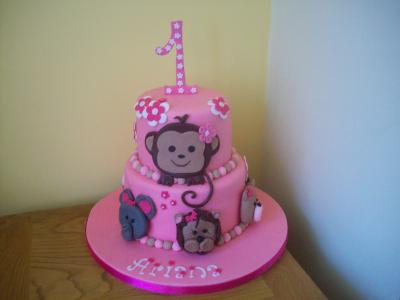 Monkey Elephant Lion Bear Birthday Cake