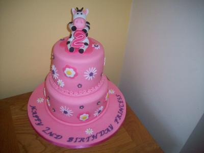 Baby Girl Cow Birthday Cake