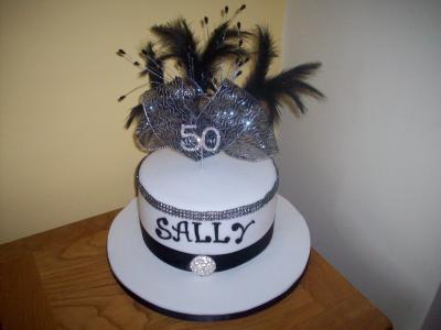 50th Feathers Bow Cake
