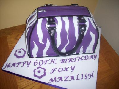Purple White Leopard Handbag Cake
