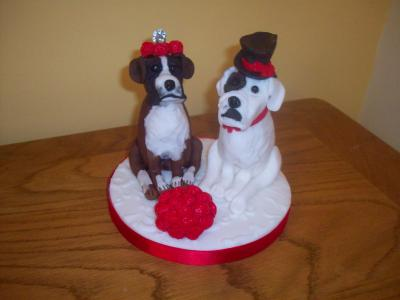 Bride and Groom Dogs Cake Topper