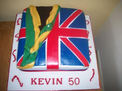 Union Jack and Jamaican Flag Cake