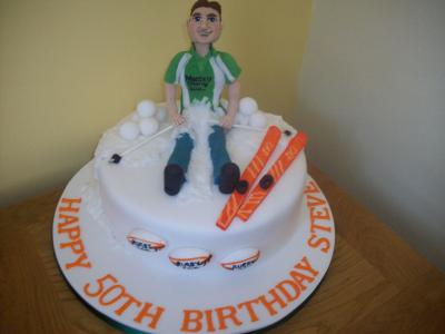 Rugby Player Ski Cake