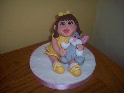 Little Girl holding her Toy Rabitt Cake Topper