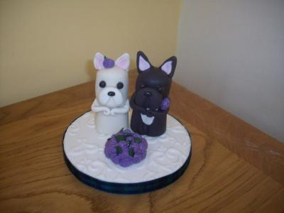 Bulldogs Bride and Groom Wedding Cake Topper