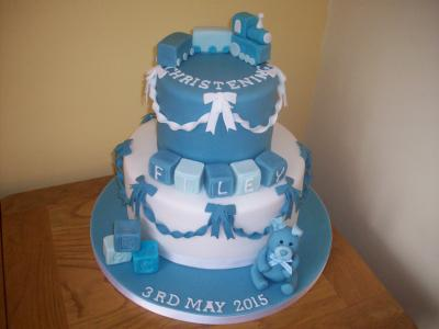 Train Bows Teddy Blocks Christening Cake