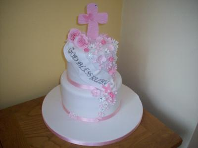 Pink Cross Christening Cake