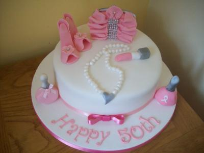 Handbag Shoes Pearls and Make up Cake