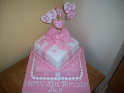 Pink Bow Hearts Cake