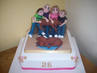 Family with Dogs Cake