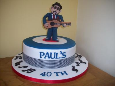 Mod Man Playing Guitar Cake