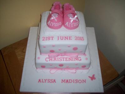 Pink Baby Shoes Christening Cake
