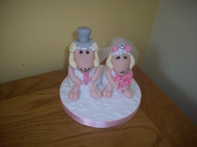 Sheep Bride and Groom Wedding Cake Topper