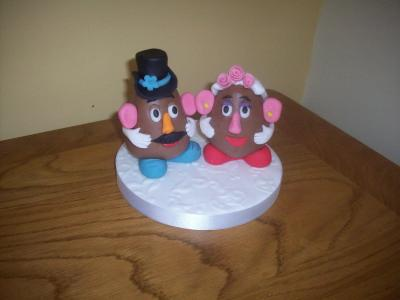 Mr and Mrs Potatoe Head Bride and Groom Wedding Cake Topper