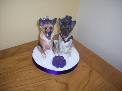 German Shepherd Bride and Groom Wedding Cake Topper