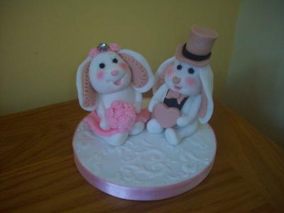 Bunny Rabbits Bride and Groom Wedding Cake Toppers