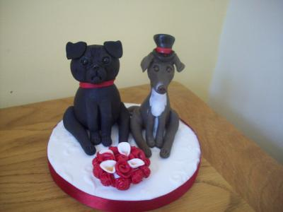 Pug Dog and Whippet Dog Bride and Groom Wedding Cake Topper