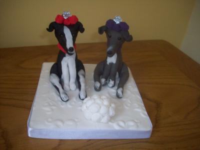 Personalised Bride Whippets Dogs Wedding Cake Topper