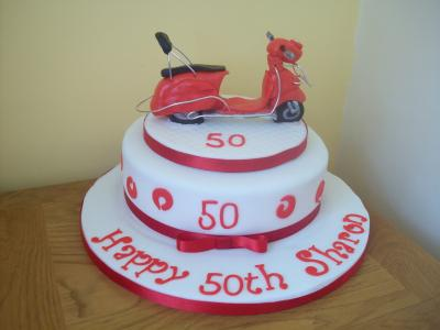 Red Vintage Vespa Moped Cake