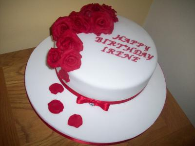 Red Roses Cascading Birthday Cake