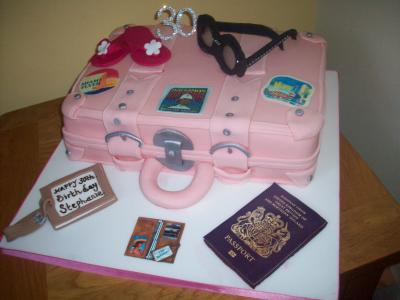 Pink Suitcase Birthday Cake