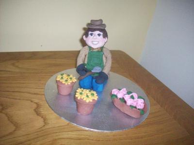 Retirement Man Birthday Novelty Gardener Cake Topper