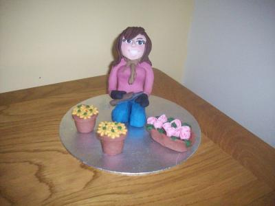 Retirement Lady Birthday Novelty Gardener Cake Topper