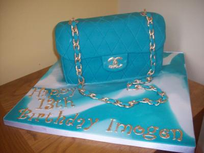 Chanel Turqouise Cake with Gold Chain