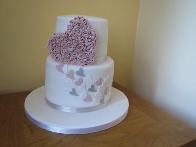Pink Ruffles Heart Engagement Cake