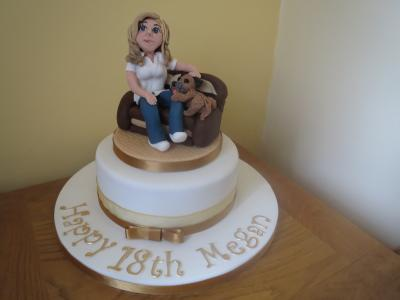18th Lady and Dog Birthday Cake