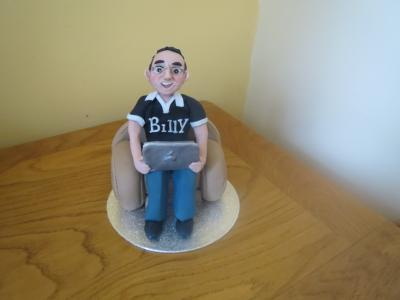 Man and his Laptop Cake Topper