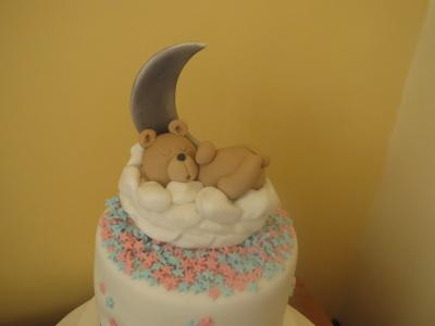 Teddy Bear with Moon and stars cake topper