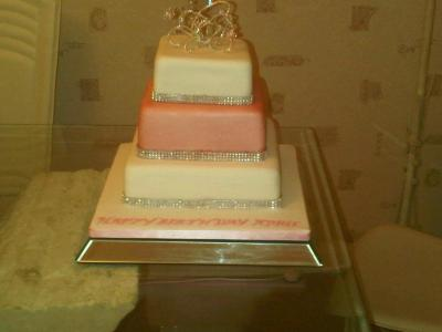 3 Tiered Pink and White Cake with Diamantes